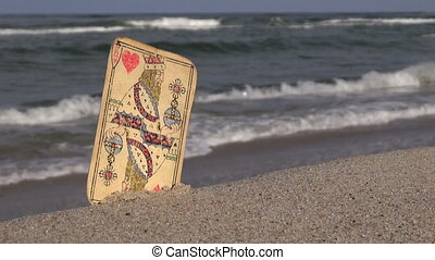 Playing card king on the beach - Antique used King of hearts...