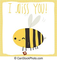 I miss you bee postcard - The vector greeting card with...