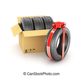 Concept of gift. The car tires in the cardboard box and one tire in gift ribbon.