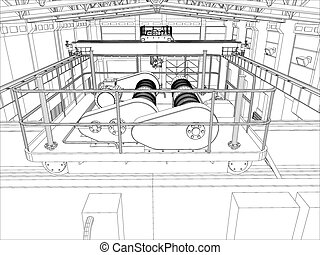 Illustration of equipment for heating system on white, top...