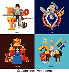 Set Of 2x2 Knight Images - Small flat 2x2 banners with feast...