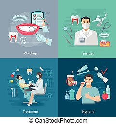 Teeth Care Square Concept - Flat color teeth care concept...