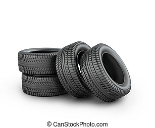 Four black rubber tires on a white background
