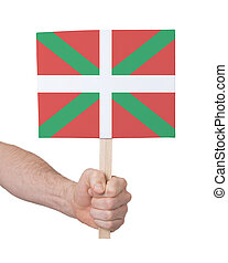 Hand holding small card - Flag of Basque Country - Hand...