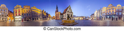 Night Skyline of Poznan Old Market Square in western Poland...