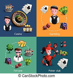 Casino 2x2 Compositions Set - Small square 2x2 banners set...