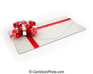 close up of a white envelope with a red ribbon on a white...