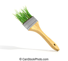 Brush with grass Eco concept