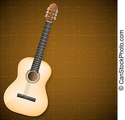 classical guitar on brown background. vector