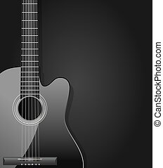 black acoustic guitar dark background