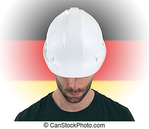 Engineer with flag on background - Germany