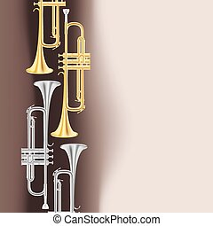 polished brass trumpet background. vector