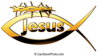 "Fisch - A fish with the name ""Jesus"" and a crown of thorns"