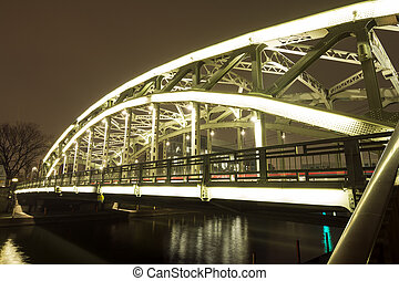 Brightly lit bridge - Brightly lit Mannen bridge in Tokyo at...