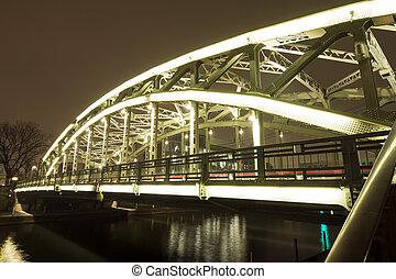 Brightly lit bridge - Brightly lit Mannen bridge in Tokyo at...