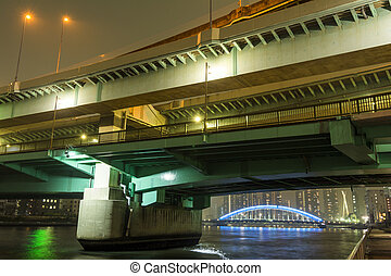 Overlapped bridge - Overlapped expressway and bridge in...