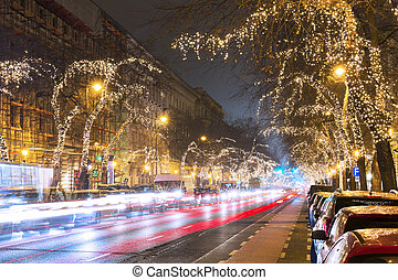 Christmas Tree Light On Central Street in Budapest, Hungary