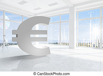 Euro financial concept - Euro currency symbol in modern...
