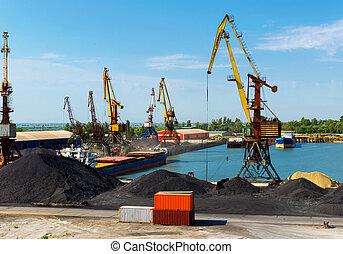 Cargo crane in port