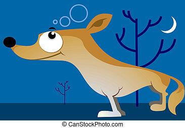 Jackal - Illustration of jackal under moonlight