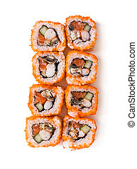 Traditional fresh japanese sushi rolls isolated on white background. Top view