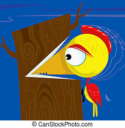 Woodpecker	 - Illustration of woodpecker cutting the tree
