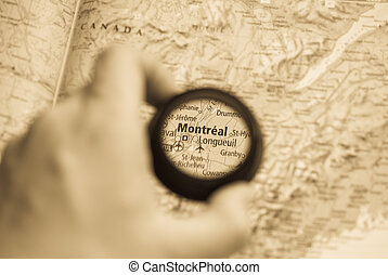 Map of Montreal - Selective focus on antique map of Montreal