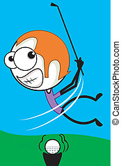 Golfer - Illustration of a golfer hitting a ball