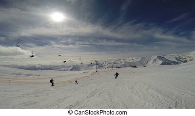 Ski slope at sunny day. Caucasus Mountains, Georgia, region...