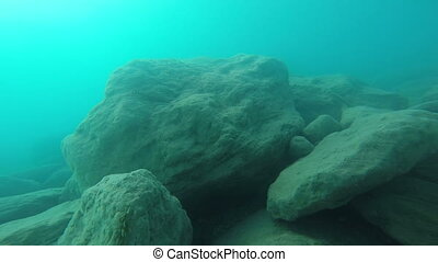 Underwater. Mediterranean Sea, Turkey. Wide angle view.