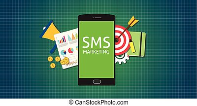 sms marketing mobile phone smarthphone graph data money -...