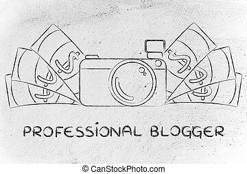 camera surrounded by cash, with text Professional Blogger -...