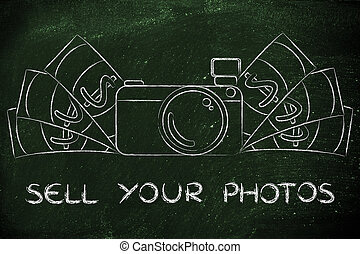camera surrounded by cash, with text Sell your photos - sell...