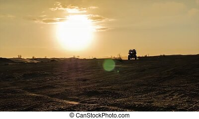 off road car and typical landscape - driving off-road car in...