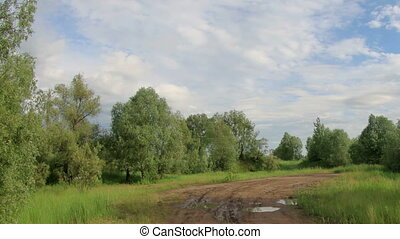 Movement of clouds over the meadow Lubinsky District, Omsk...