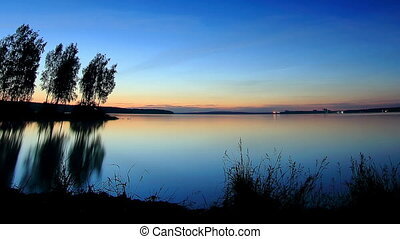 sunrise over Beloyarsk reservoir - Sunset, night and sunrise...