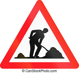 Warning sign used in Switzerland - road works.