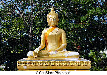 buddah - Statue of Buddha meditating in green garden