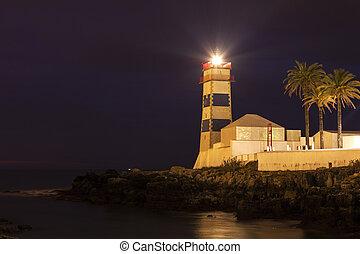 Santa Marta Lighthouse in Cascais. Cascais, Lisbon, Portugal