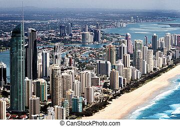 Big urban city located on a coast - Big urban city with tall...