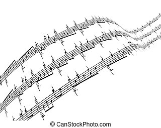 3d music notes - 3d render of music notes White background
