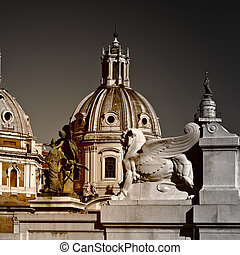 Domes of Catholic Cathedrals in Rome, Vintage Style Toned...