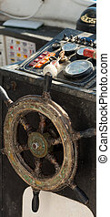 Interior of an Old Fishing Boat - Detail of an old blurred...