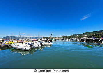 Lerici Port - La Spezia Italy - The port of Lerici, typical...