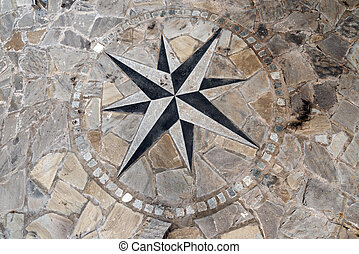 Pavement Stone with Compass Rose - Stone flooring with...