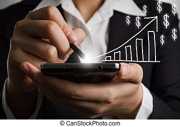 Close up business woman hand holding smart phone.