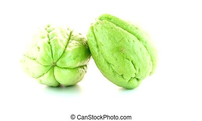 Chayote also known as chow chow and Chu Chu isolated on...