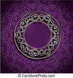 Round Frame - Golden Round Abstract Frame Over Purple...
