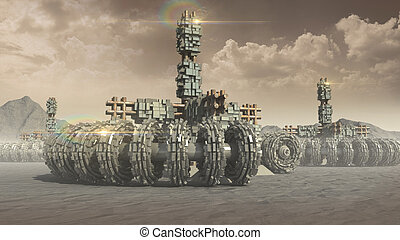 Fantasy transports and architecture on a red planet with...