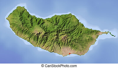 Madeira, shaded relief map - Madeira Shaded relief map...